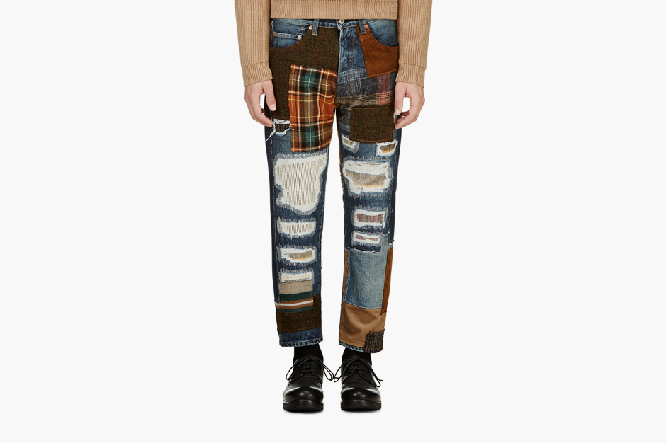 Image of Junya Watanabe Blue Patchwork Jeans