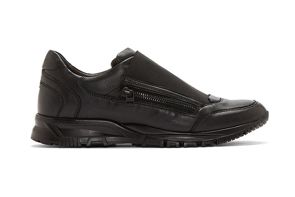 Image of Lanvin Black Leather Elastic Panel Runner