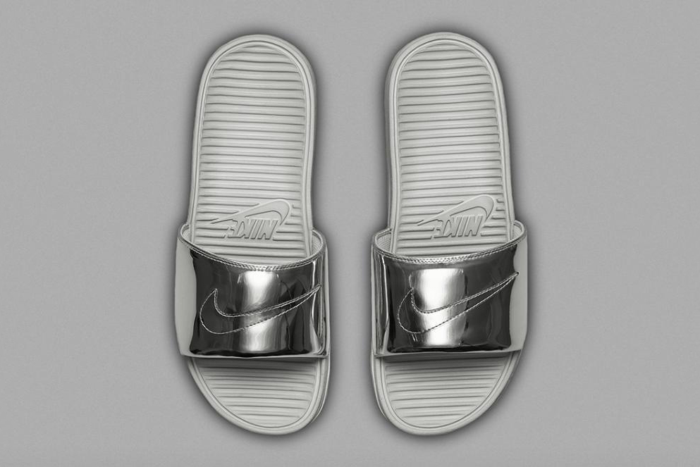 "Image of Nike Benassi Solarsoft Slide SP ""Liquid Metal"""