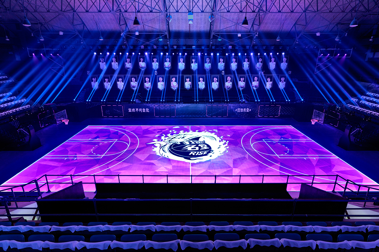 "Image of Nike's ""House of Mamba"" LED Basketball Court"