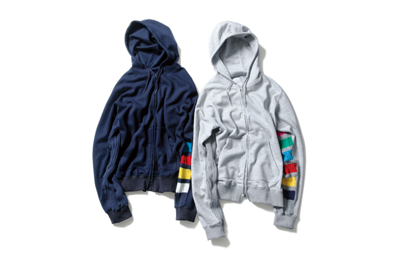 Image of uniform experiment 2014 Fall/Winter Color Chart Cable Knit Sleeve Zip-Up Parka