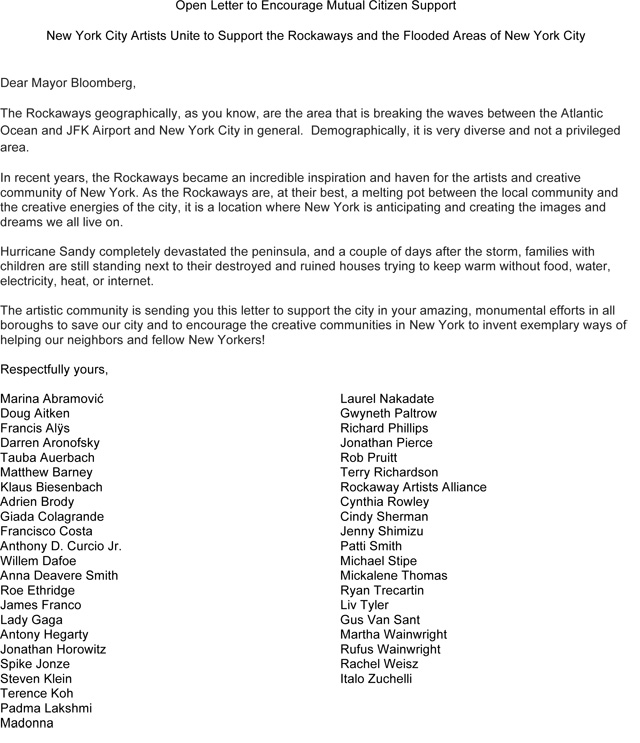 Art, Music, Film Celebrities Write a Letter to Mayor Bloomberg About