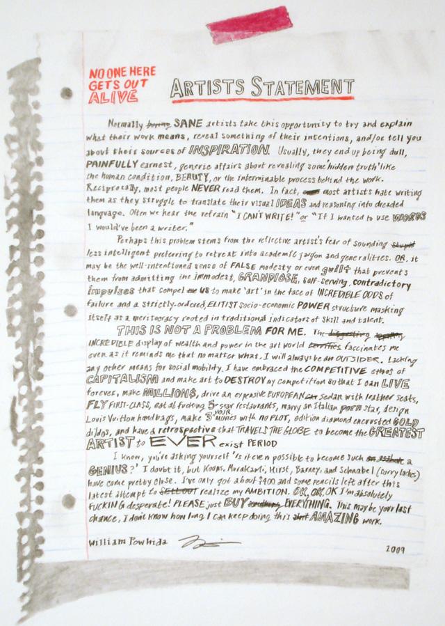 The Anti-artist-statement Statement - sample artist statement