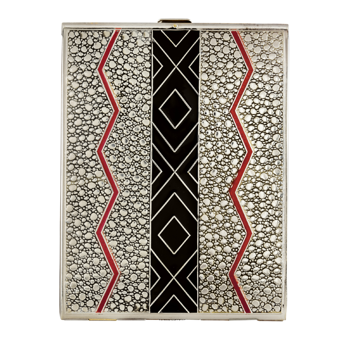 Press Easy cigarette case (United States, 1929), red and black enamel on embossed metal, designed by Alfred Reilly, and produced by Evans Case Company, Attleboro, Massachusetts (© Rodney and Diana Capstick-Dale)