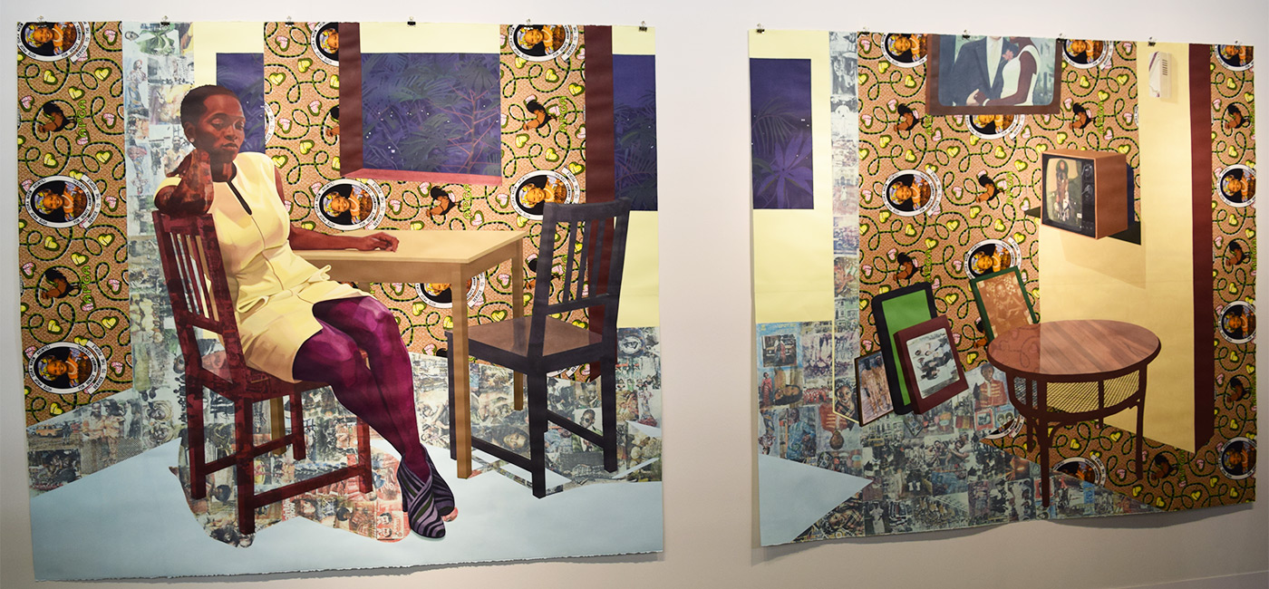 "Njideka Akunyili Crosby, ""Portals"" (2016) at the 2016 Armory Show (photo by Benjamin Sutton/Hyperallergic)"