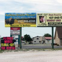 """Welcome to Buffalo"", Buffalo Prairie Dental billboard"