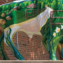 Painted buffalo sculpture high school, Buffalo, Missouri