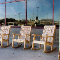 Rocking chairs at Branson's new airport. Sit and rock a while as you wait for your friend's jet plane to come in.