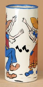 Small workshop ceramic old-time square dancing couple vase. (click to enlarge)