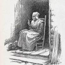 """Illustration of old lady smoking a clay pipe from article, """"Through Cumberland Gap on Horseback,"""" in Harper's New Monthly Magazine, June, 1886, by James Lane Allen.  (click to enlarge)"""