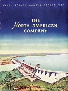 North American Company Annual Report, 1947.  Sometime in the late 1920s this octopus of a holding company acquired control of Union Electric's stock.  North American, known for its bare-knuckle practices, encouraged the St. Louis utility to build a slush fund from kickbacks and use it to illegally finance politicians and bribe public officials.  This notorious holding company was broken up by the feds in 1946. Many online sources state that Union Electric was divested at that time, but this 1947 report still lists the St. Louis utility as an asset.  The holding company for Union Electric today is Ameren.