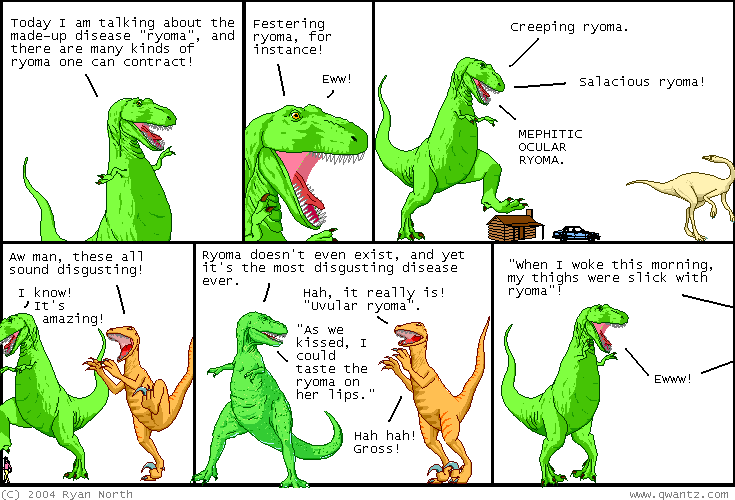 "Since reading is a conversation between the author and audience, critical literacy allows a reader to gain more control over the context of texts. In this Qwantz Dinosaur Comic, ""ryoma"" is defined wholly through context clues and the reader's critical literacy."