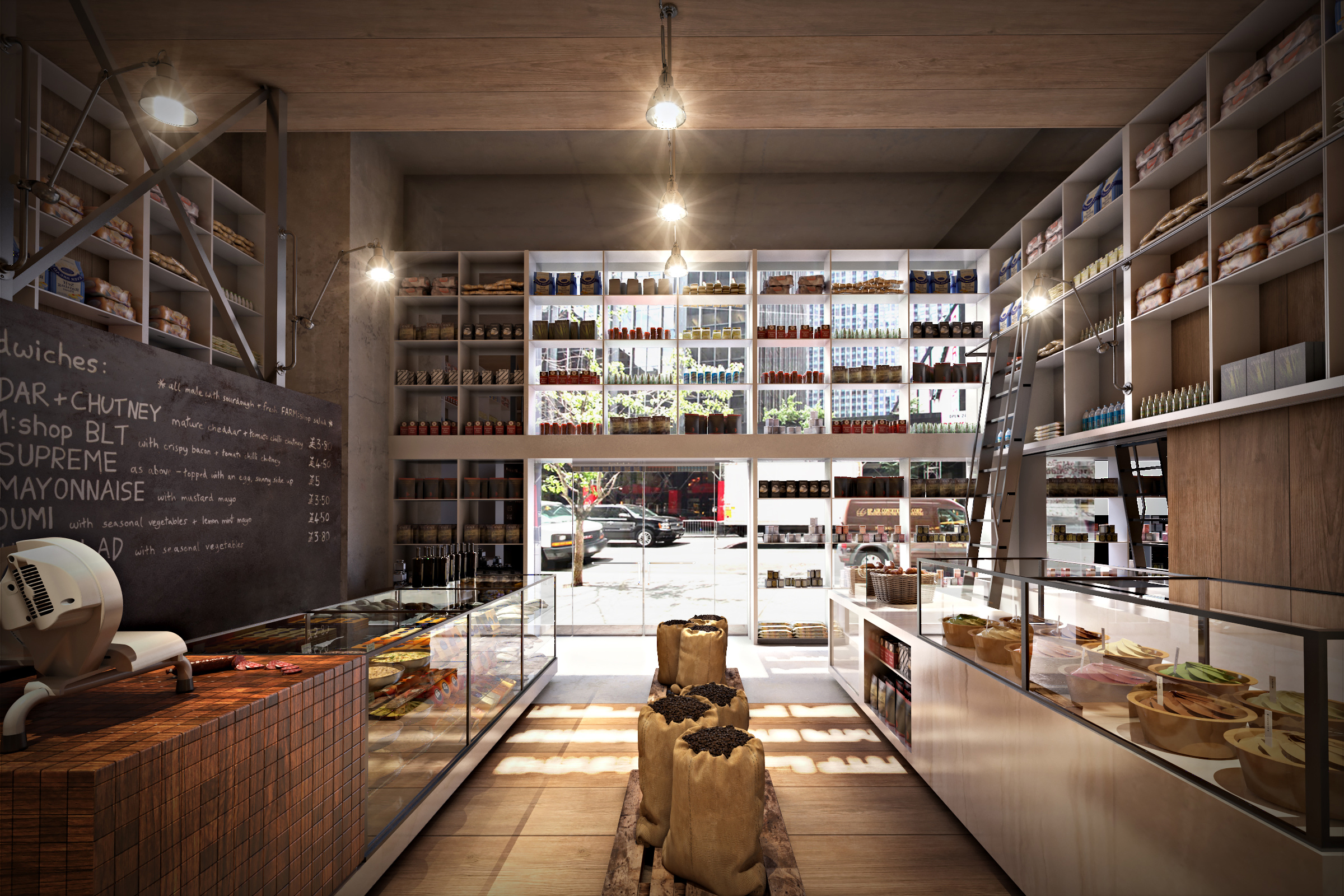 Architecte D'intérieur New York Marché New York Café Yogurt Bar Market 3d
