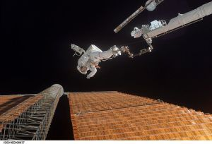 Scott Parazynski Repairs damaged Solar panel on the International Space Station