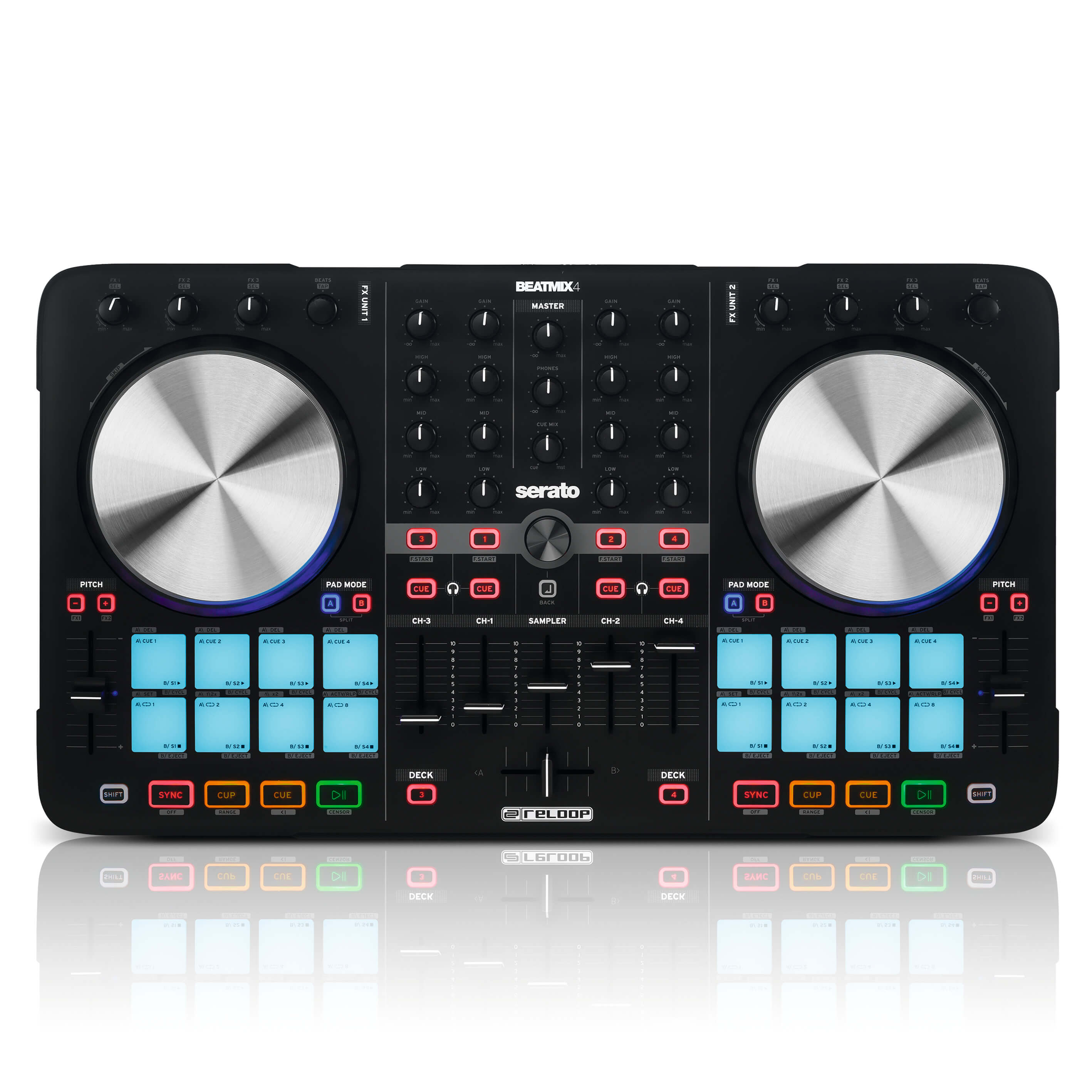 Mini Mesa Dj Reloop Beatmix 4 Professional 4 Channel Dj Controller With