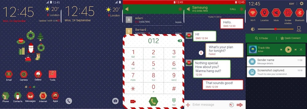 A flurry of Christmas themes arrives early on the Samsung Theme store - christmas themes images
