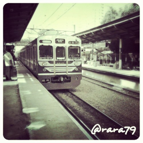 Incoming Train. Location: Duren Kalibata Station. Taken with HTC One S smartphone.