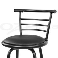 4x Bar Stools PU Leather Barstool Swivel Backrest Kitchen ...