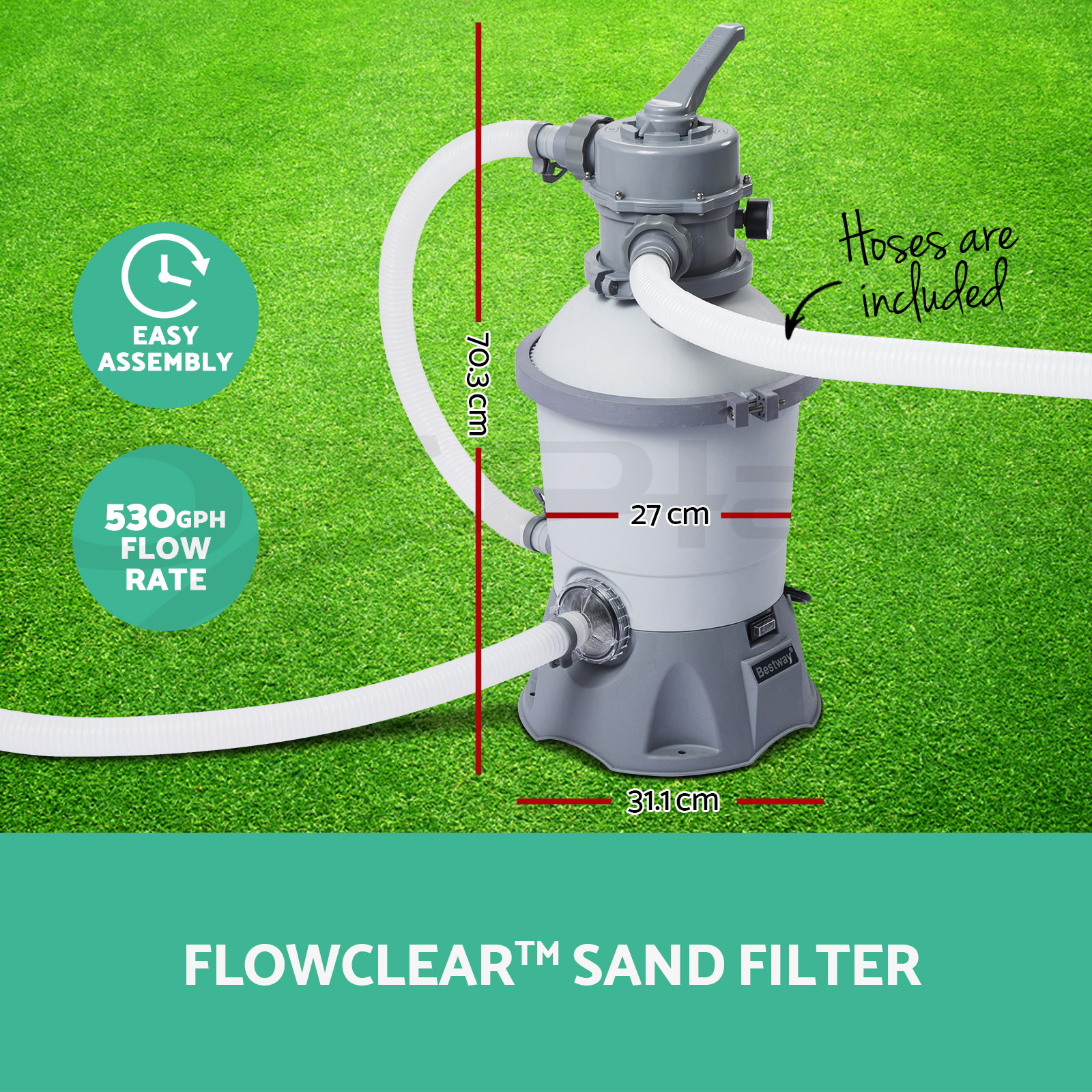 Pool Filter Pump Parts 530gph Bestway Flowclear Sand Filter Swimming Above
