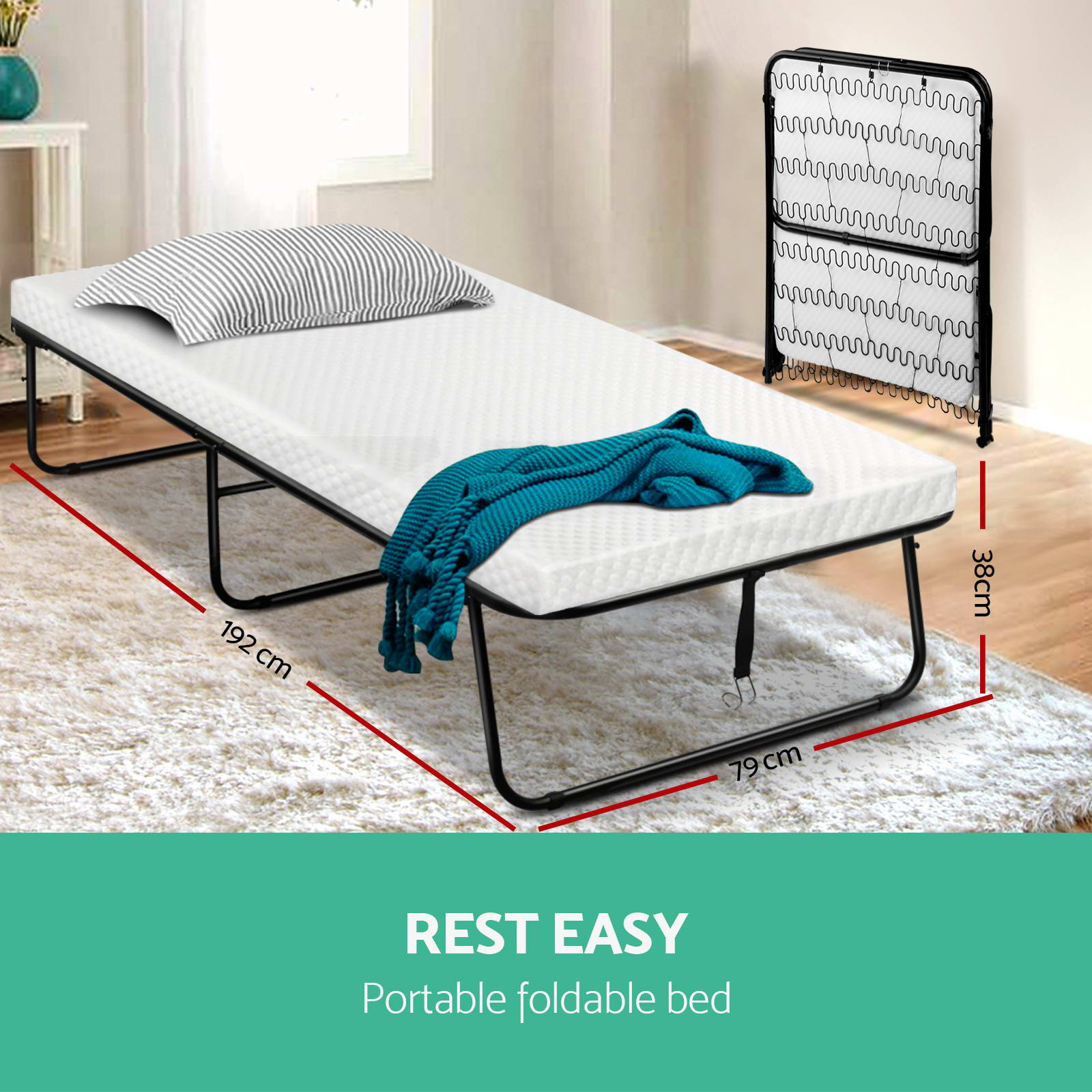 Foldable Single Mattress Artiss Portable Folding Bed Foldable Single Mattress