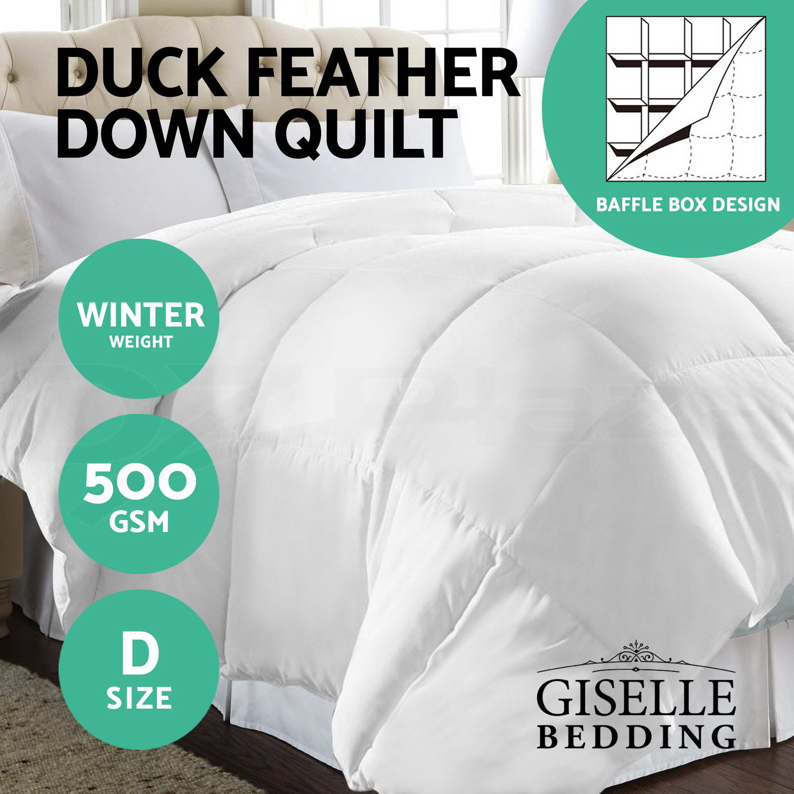 Duck Feather Doona Duck Goose Feather Down Quilt Blanket Cover 500gsm Cotton