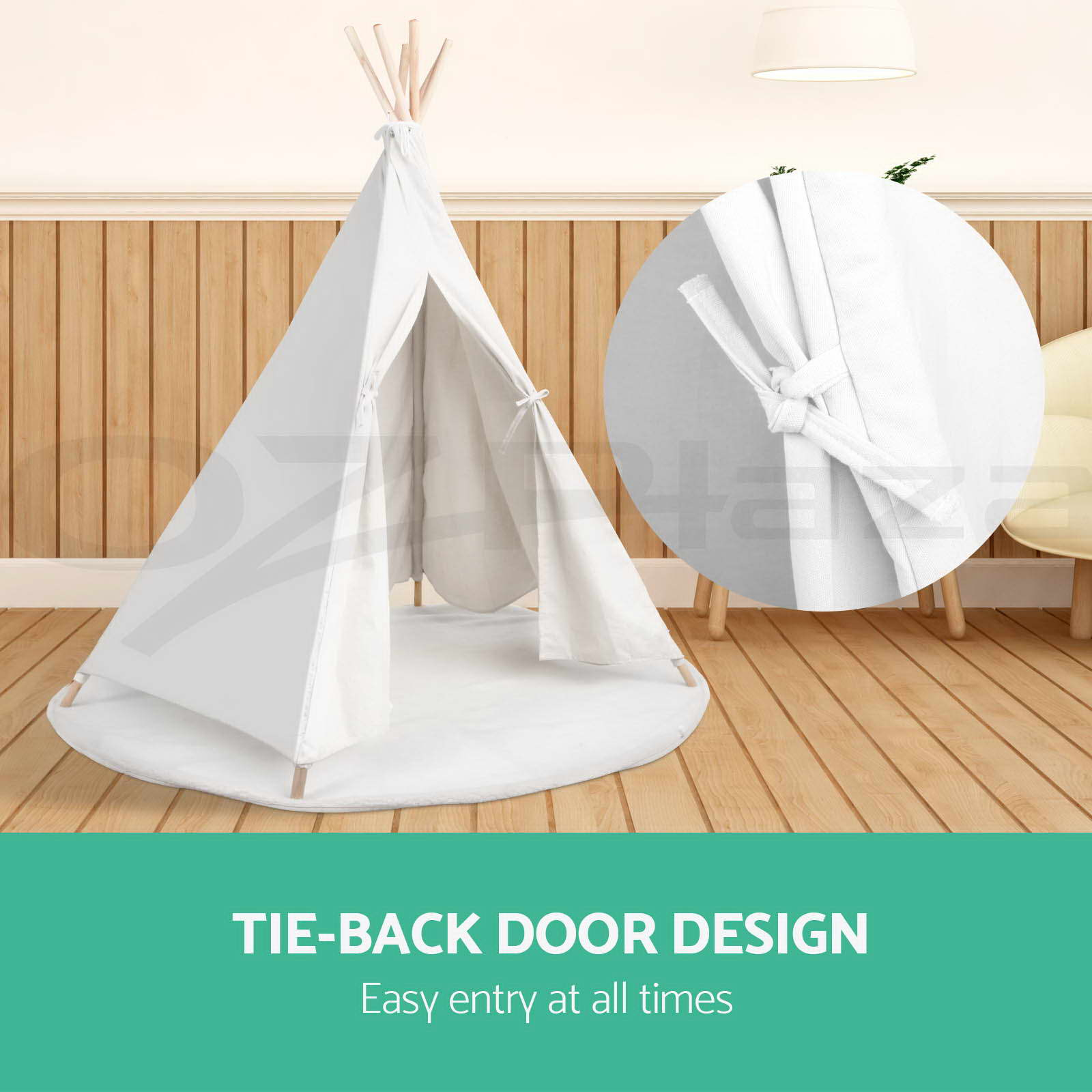 Kids Teepee Australia Kids Teepee Tent Children Hexagonal Cotton Canvas White