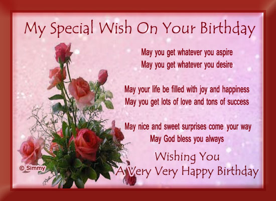 My Special Birthday Wish Free Birthday Wishes eCards, Greeting