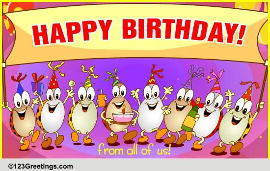 Happy Birthday From All Of Us Free Wishes ECards 123