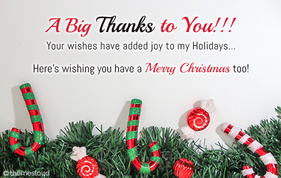Your Wishes Added Joy To My Holidays! Free Holiday Thank You eCards