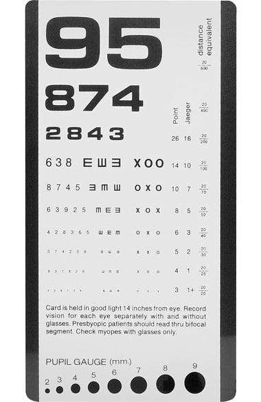 Prestige Medical Rosenbaum Pocket Eye Chart allheart