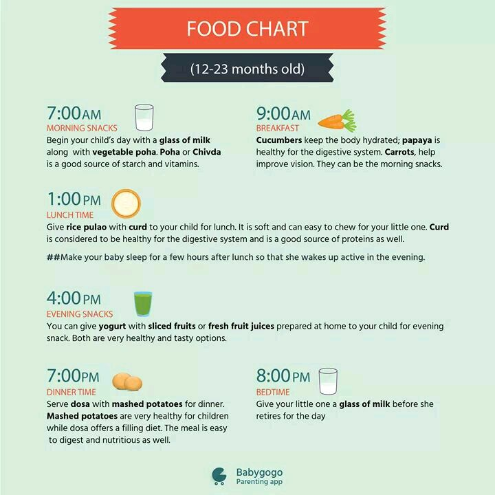 I want diet chart for 16 months old baby boy