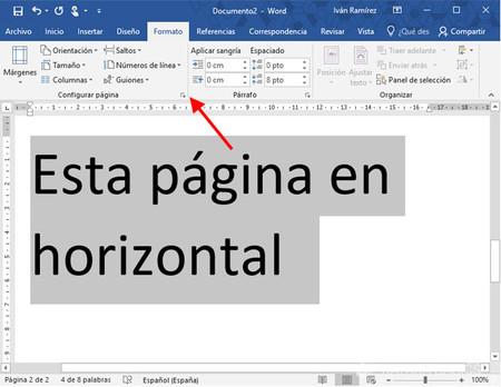 Cómo añadir una página en horizontal en Word