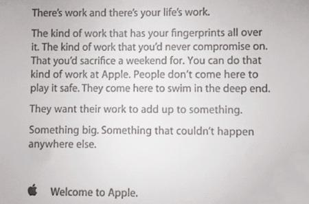La carta de bienvenida que reciben los trabajadores de Apple, sus