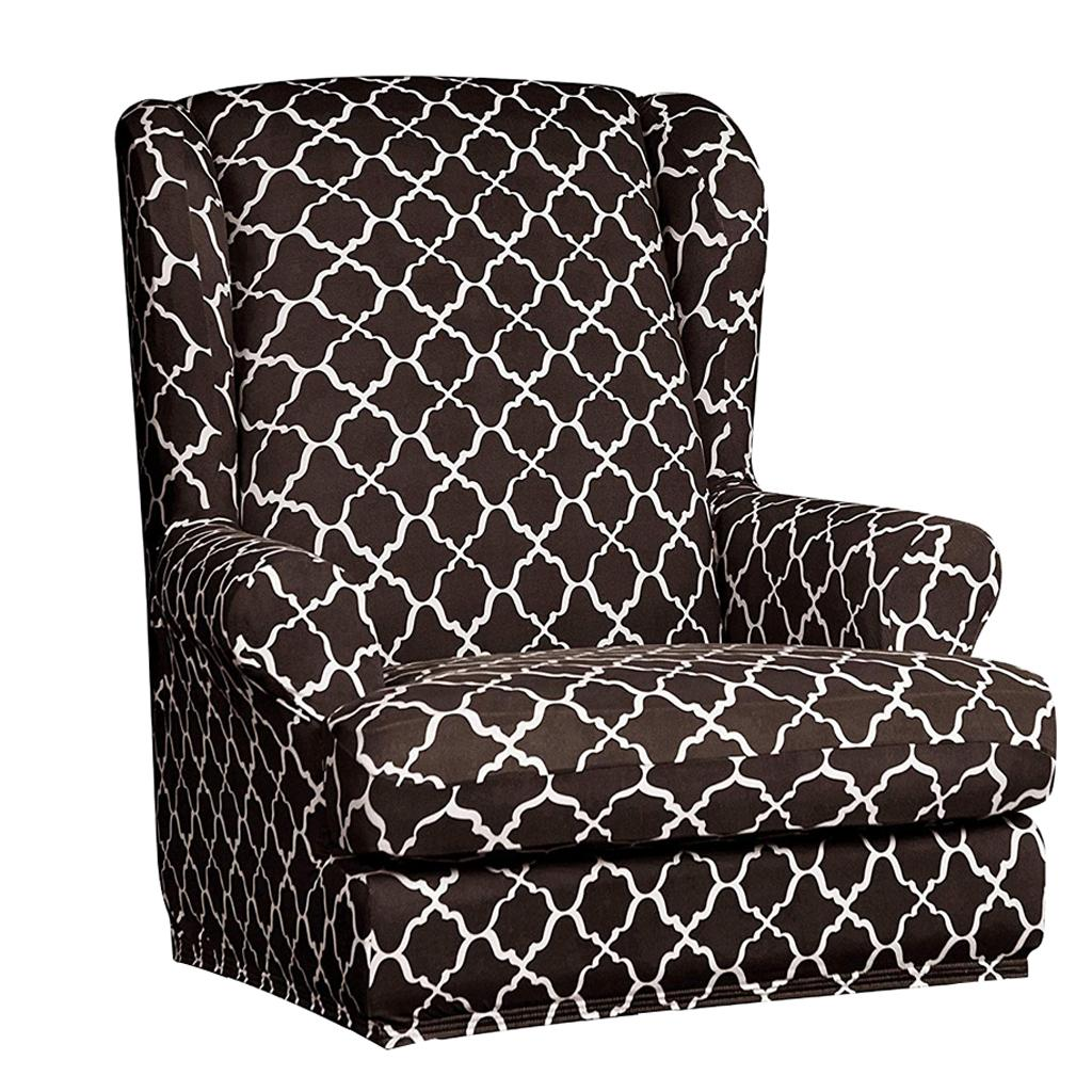 Elastic Grid Pattern Armchair Wing Back Couch Slipcover Separate Cushion Cover Ebay
