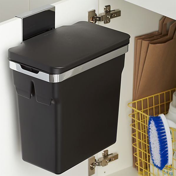 Door Mounted Trash Can simplehuman Over the Door Trash Can   Crate and Barrel