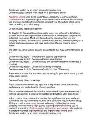 Calaméo - Cocaine Essay Sample Topic Ideas for a Successful Essay