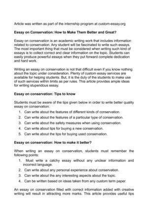Calaméo - Essay on Conservation How to Make Them Better and Great?