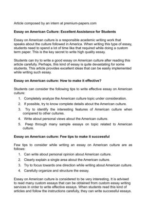Calaméo - Essay on American Culture Excellent Assistance for Students