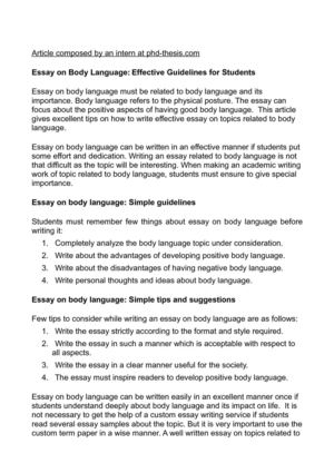 Calaméo - Essay on Body Language Effective Guidelines for Students