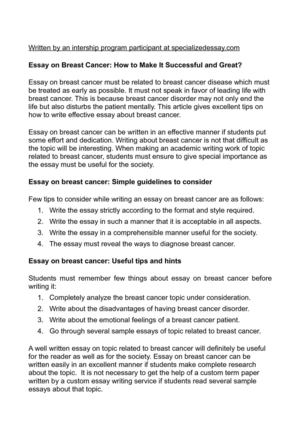 Calaméo - Essay on Breast Cancer How to Make It Successful and Great?