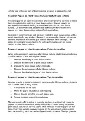 Calaméo - Research Papers on Plant Tissue Culture Useful Points to - how to write a research paper