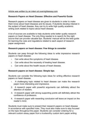 Calaméo - Research Papers on Heart Disease Effective and Powerful Guide