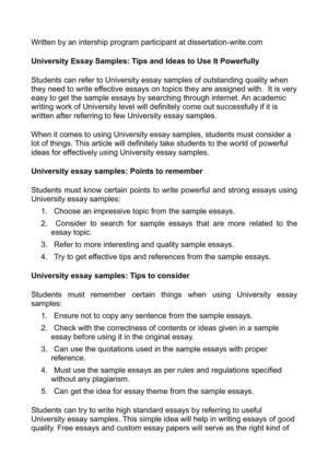 Calaméo - University Essay Samples Tips and Ideas to Use It Powerfully