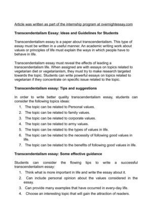 Calaméo - Transcendentalism Essay Ideas and Guidelines for Students