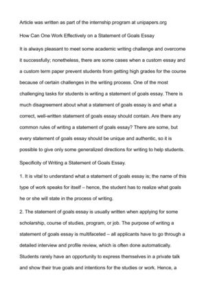 Calaméo - How Can One Work Effectively on a Statement of Goals Essay