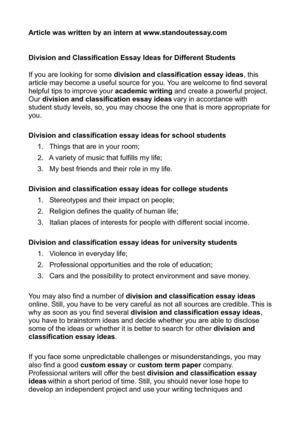 Calaméo - Division and Classification Essay Ideas for Different Students
