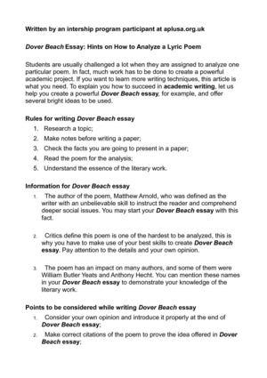 Calaméo - Dover Beach Essay Hints on How to Analyze a Lyric Poem