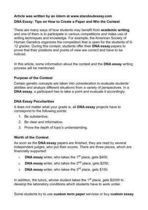 Calaméo - DNA Essay Tips on How to Create a Paper and Win the Contest
