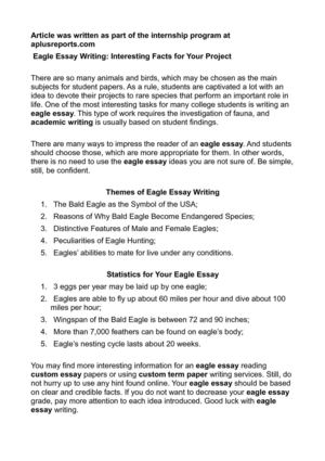 Calaméo - Eagle Essay Writing Interesting Facts for Your Project