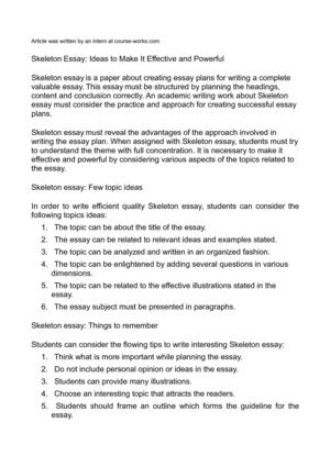 Calaméo - Skeleton Essay Ideas to Make It Effective and Powerful